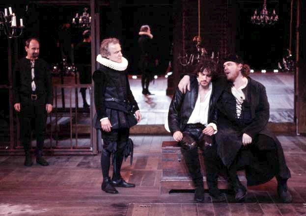 Martin Raynor, David Patrick Kelly, Christian Camargo and Bostin Christopher in Kit Marlowe by David Grimm at the Public Theatre