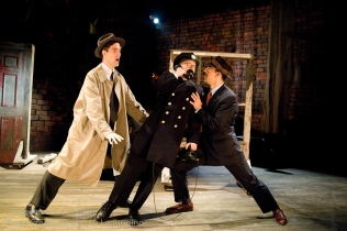 Jed Hancock-Brainerd, Roblin Gray Davis and Aram Aghazarian in Alfred Hitchcock's The 39 Steps at Perseverance Theatre 2011